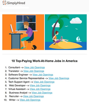 "lance writer jobs are on the top paying work at home list for  simplyhired com s 2016 list of ""10 top paying work at home jobs in america"" includes writer let s look at what ""top paying"" means"