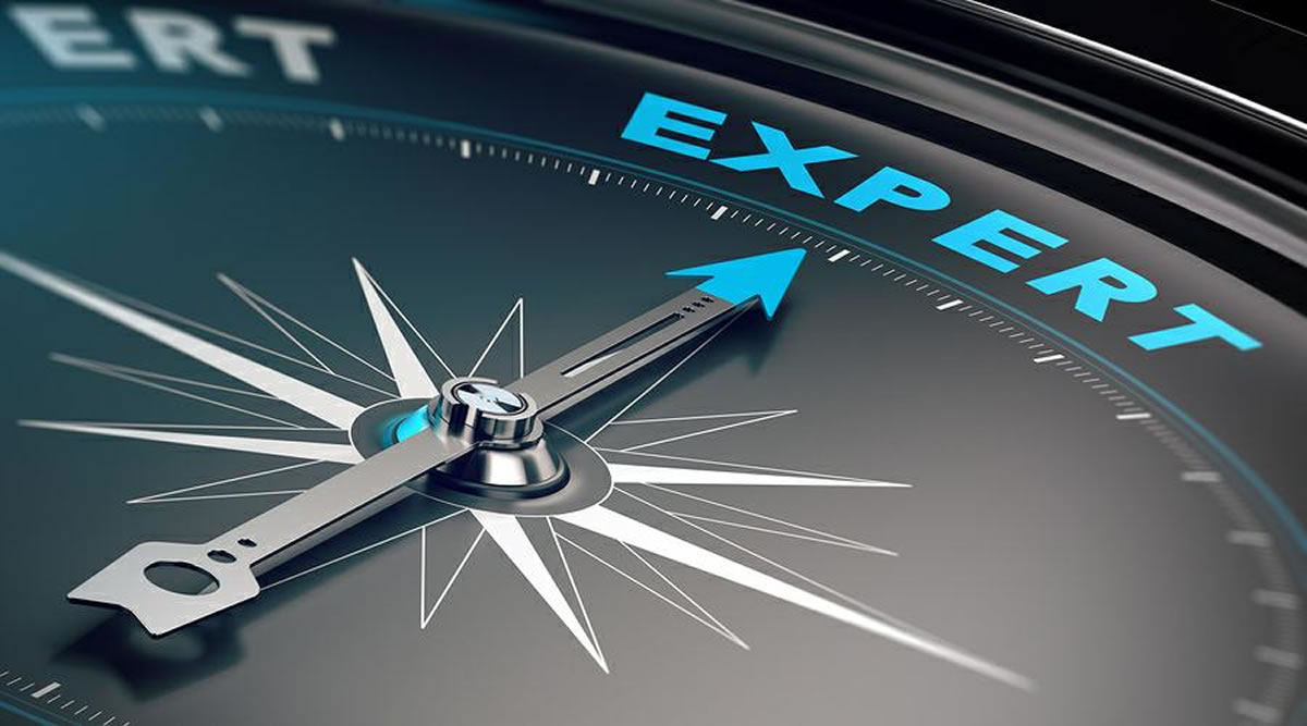 Compass pointing to the word expert