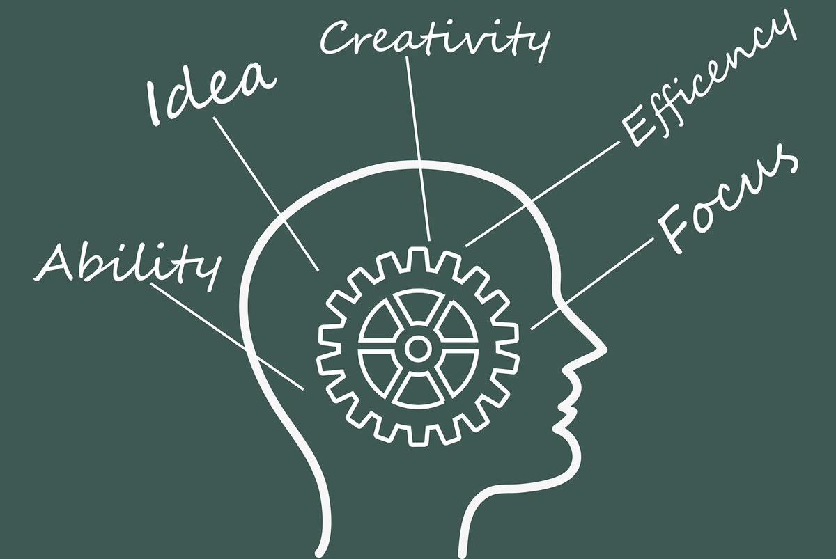 Illustration of a gear inside a human mind with the words ability, idea, creativity, efficiency, and focus surrounding it