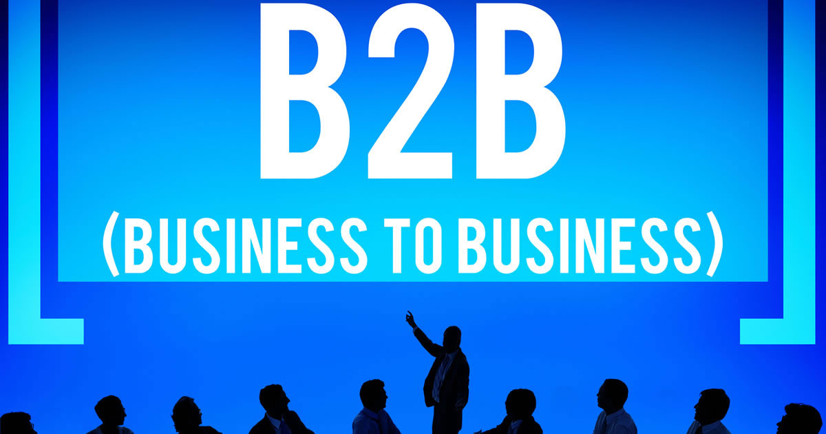 Graphic of business people silhouettes with one raising an arm toward the words B2B business to business