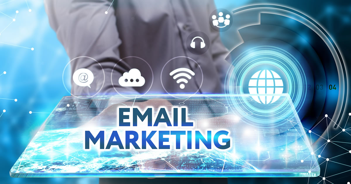 Person holding a screen like a platter with the words Email Marketing