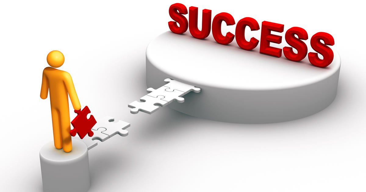 Graphic of a person holding a missing puzzle piece to connect a path to the word success