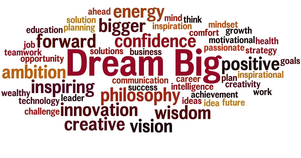 Word collage with emphasis on dream big
