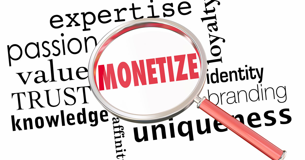 Graphic of magnifying glass over the word monetize