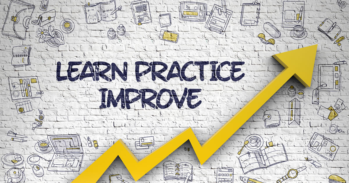 Increasing arrow and the words learn practice improve