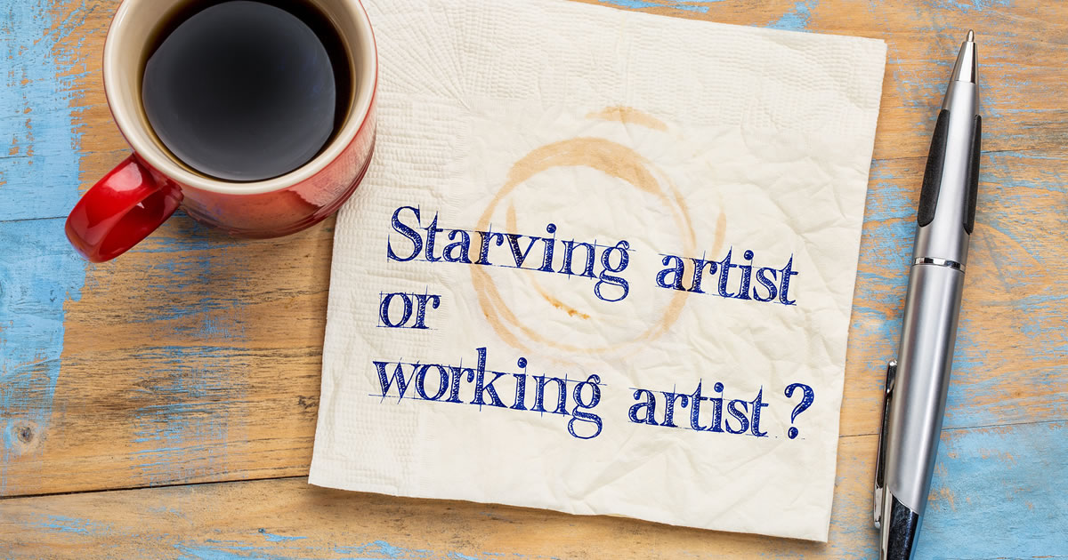 Coffee-stained napkin with words asking the question starving artist or working artist