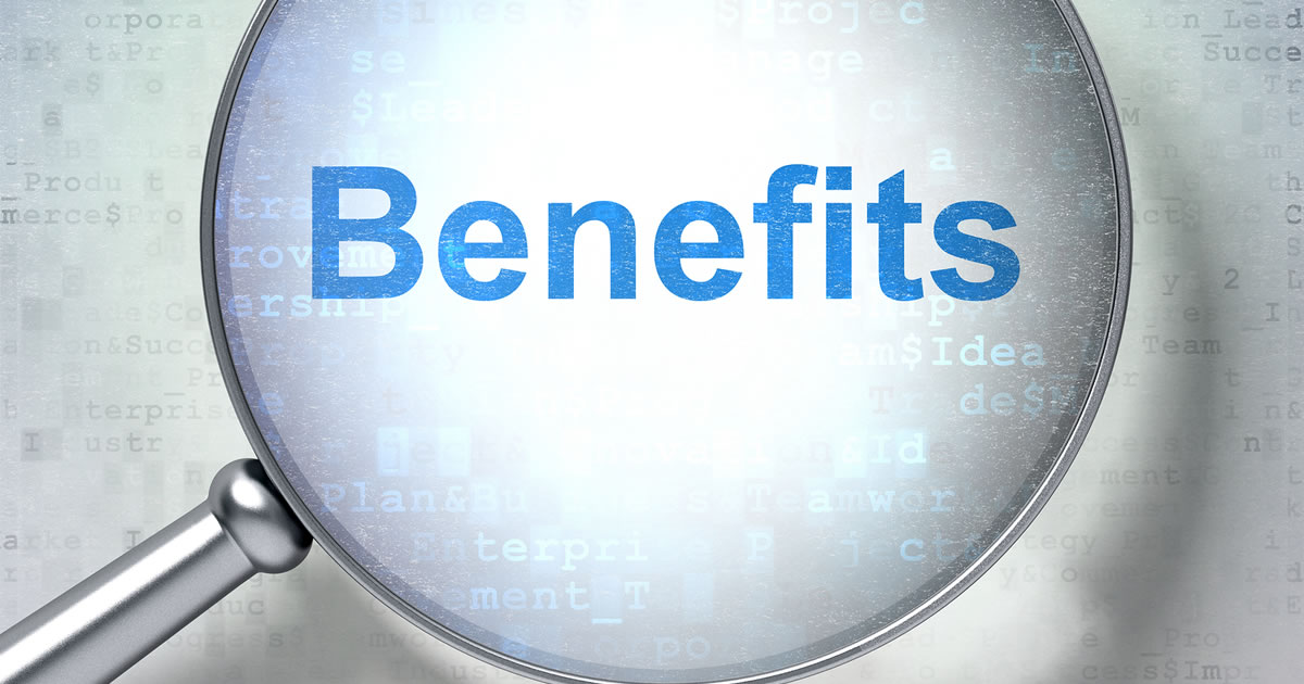 Magnifying glass showing the word benefits