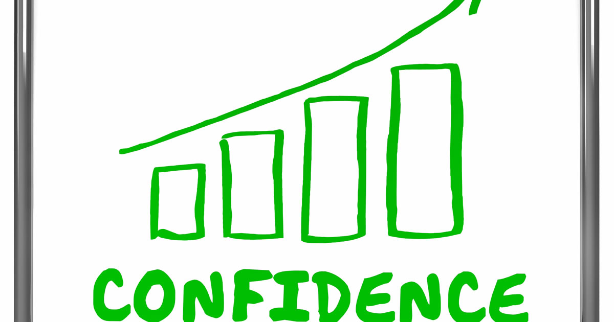 Bar graph showing increase in confidence