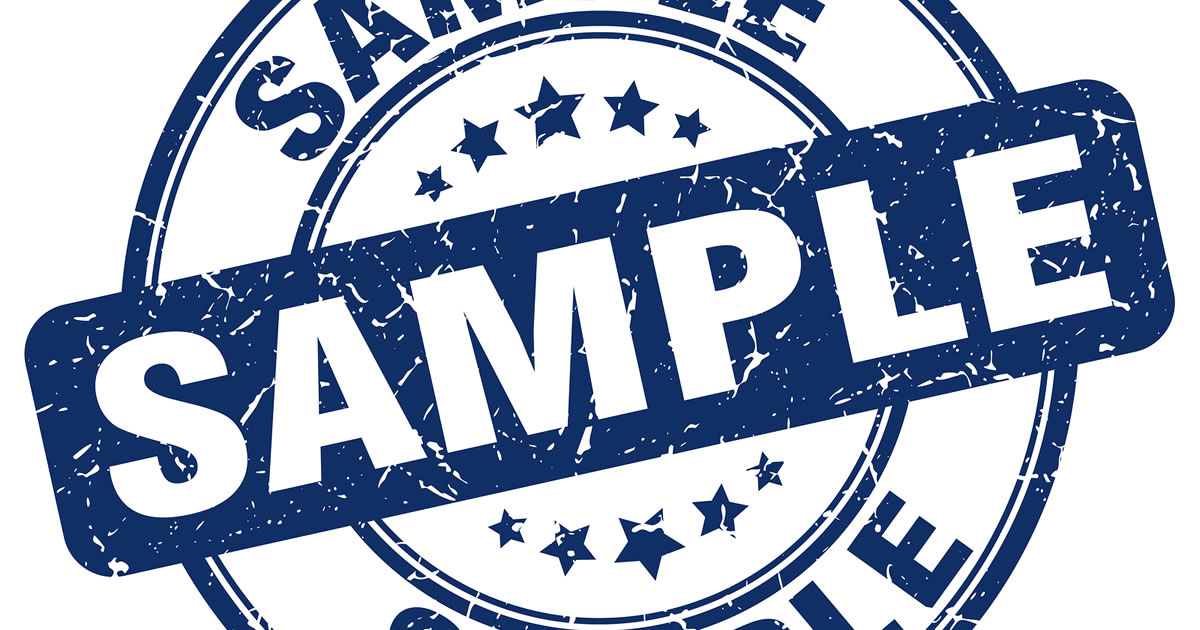 Blue stamp of the word Sample