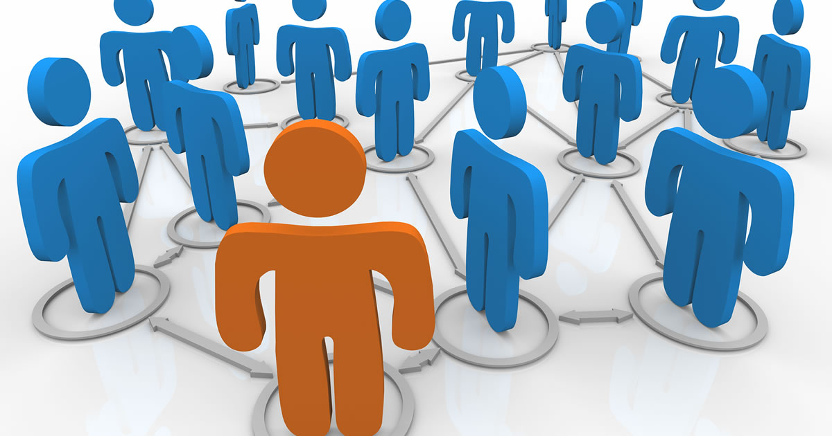 One orange person icon surrounded by a group of blue people icons
