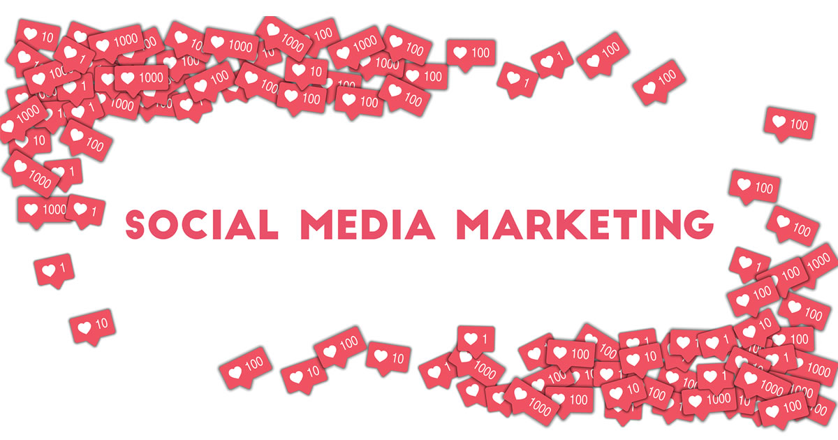 Social media heart reactions surrounding the words Social Media Marketing