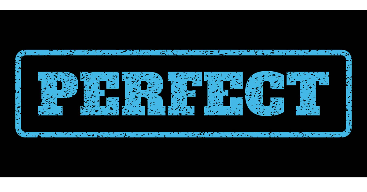Graphic of light blue stamp of the word perfect