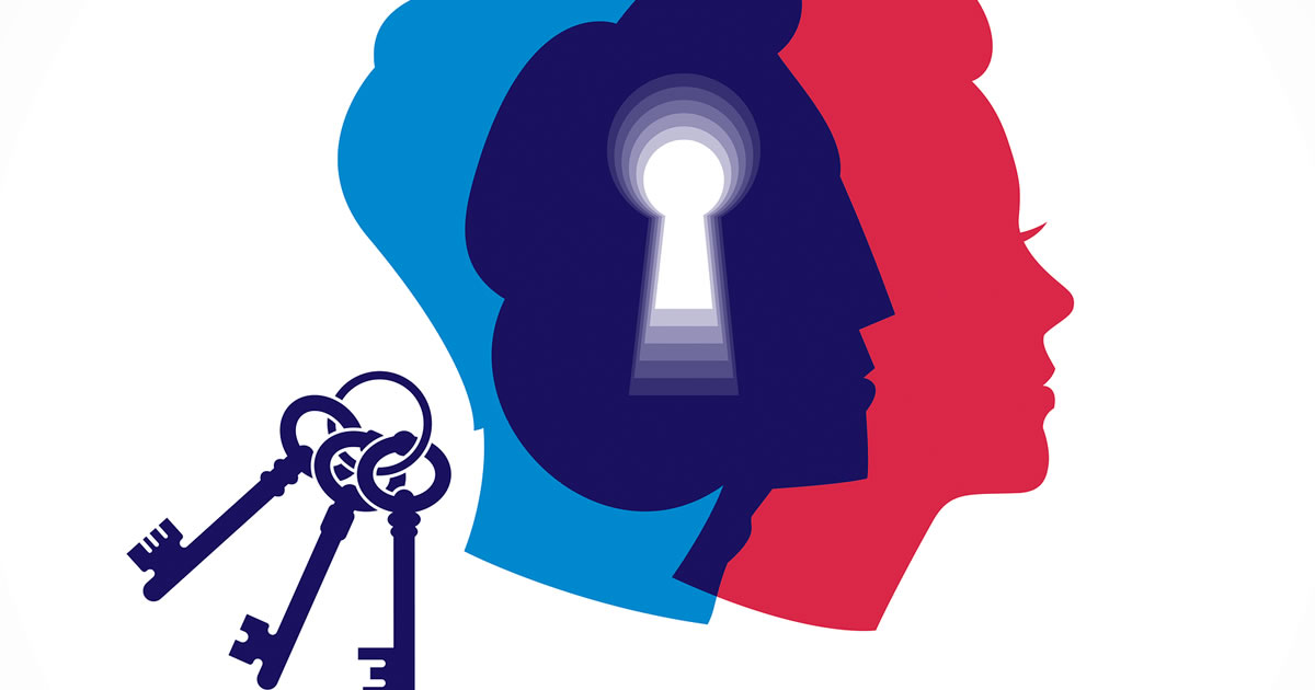 Graphic of a keyhole cutout within silhouettes of three people's heads next to set of keys