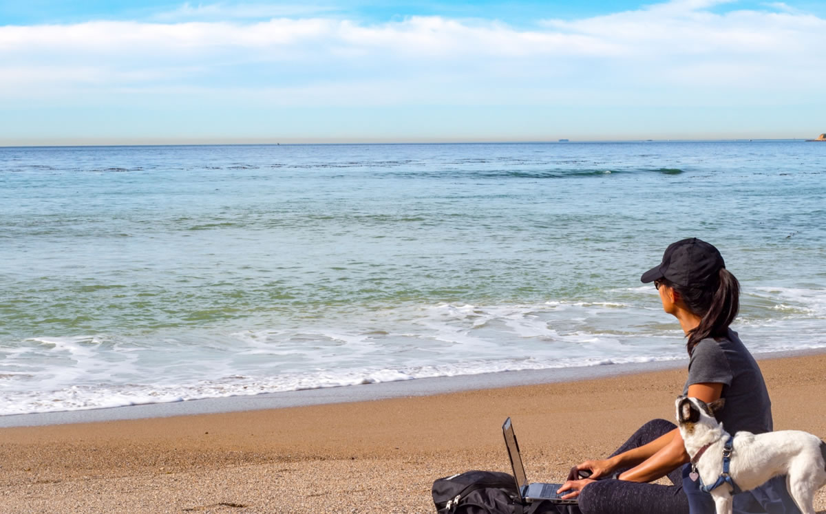 Woman looking at ocean for inspiration, writing on laptop