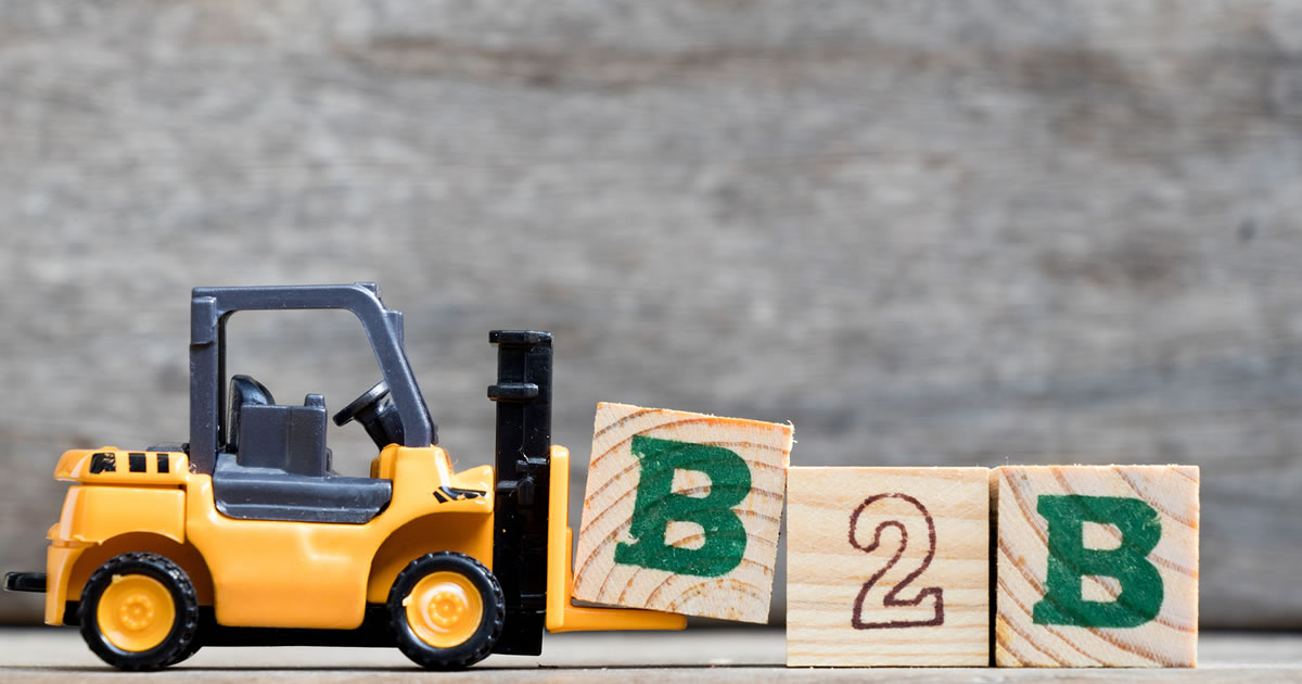 Mini toy forklift with alphabet blocks spelling B2B