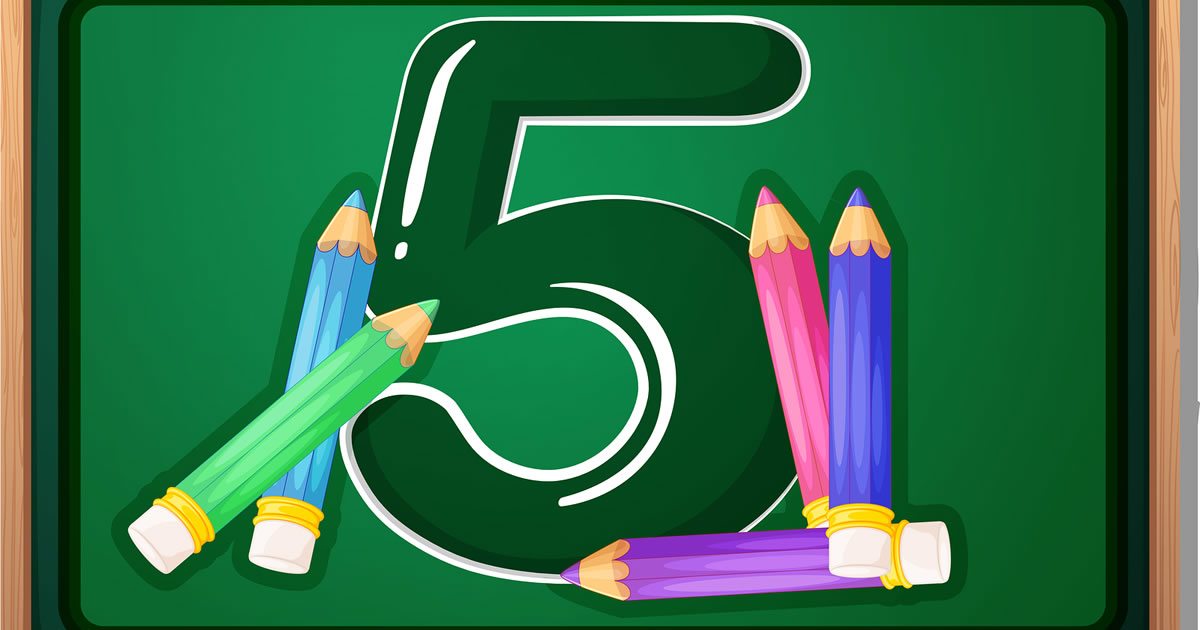 Illustration of the number five and five pencils
