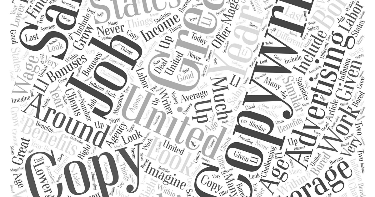 Word collage with words such as copy, job, copywriting, advertising
