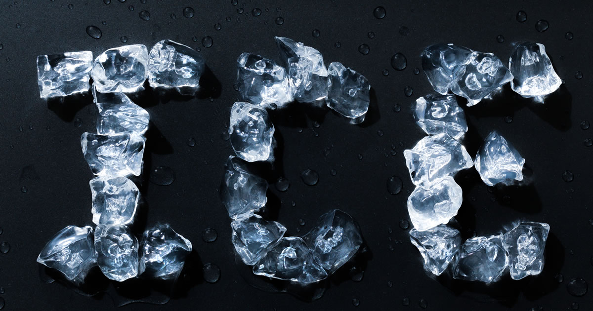 The word ice spelled out with ice cubes