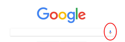 Screen shot of Google search bar with red circle around microphone icon
