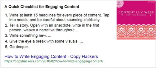 Screen shot of Google snippet in list format