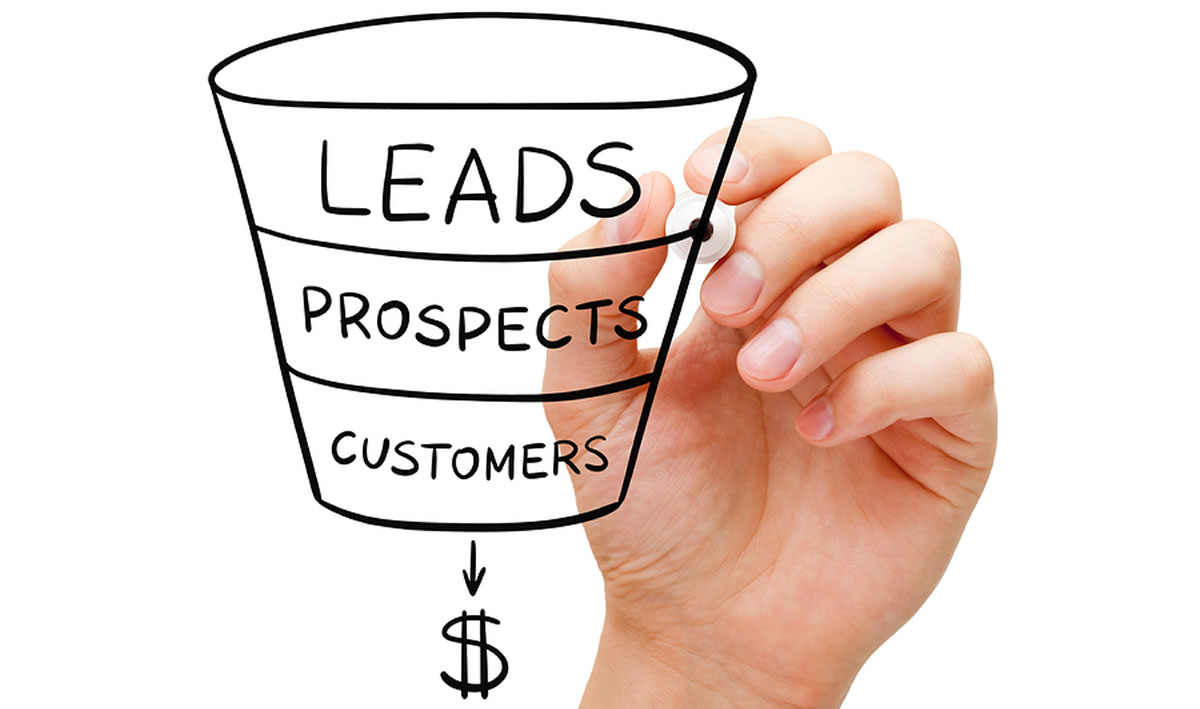 A hand drawing a funnel narrowing downward from Leads to Prospects to Customers to dollar sign