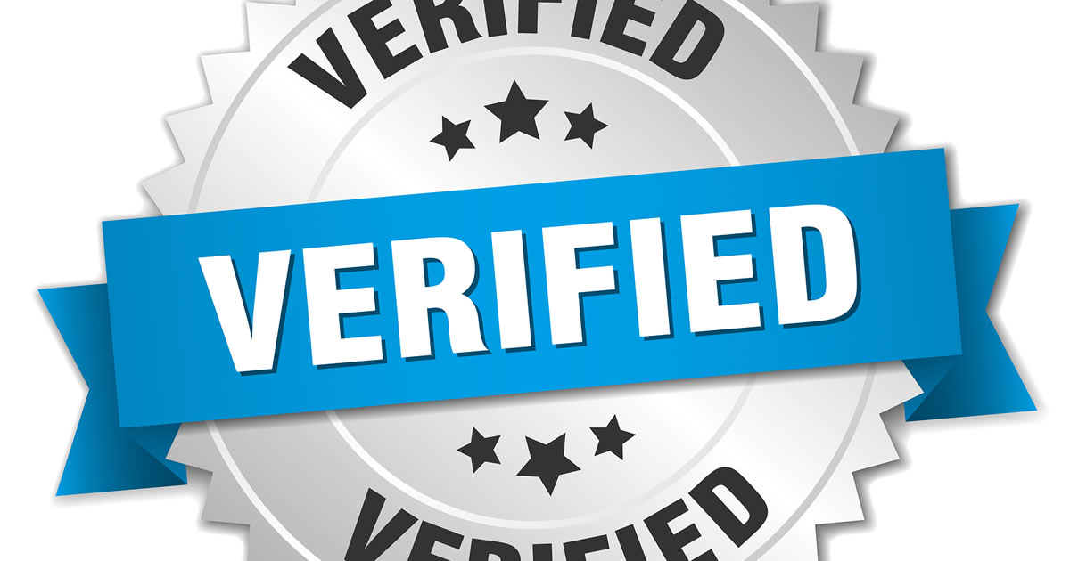 Badge with the word verified