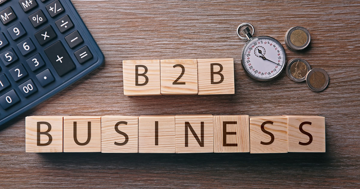 Wooden blocks spelling out B2B Business