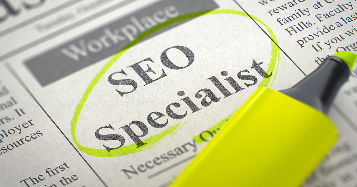 Classified ads with SEO Specialist circled