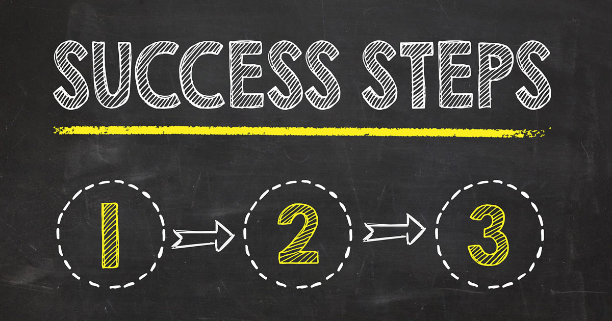 Success steps text written on blackboard with numbers 1, 2, 3