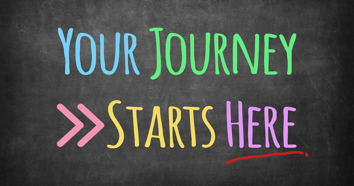 Your Journey Starts Here writing on blackboard background