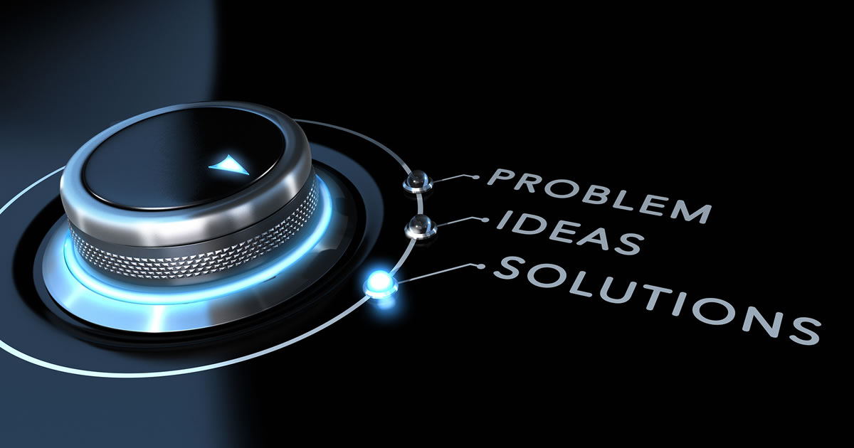 Switch with options labelled Problem, Ideas, and Solutions positioned to the Solutions option