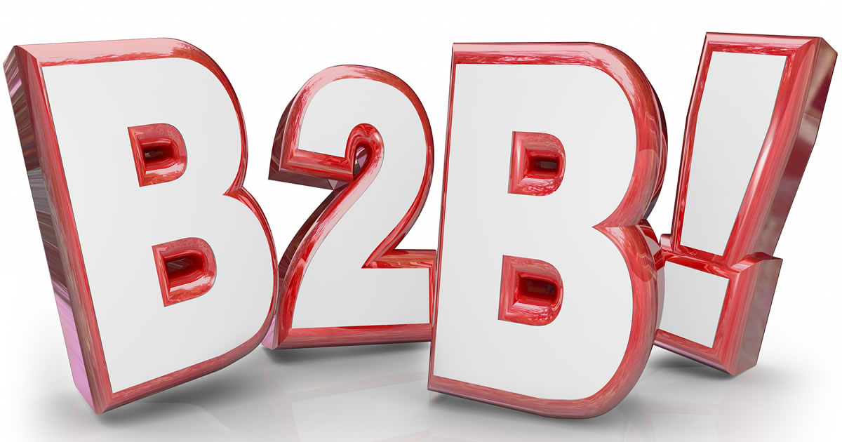 (Business-to-Business) B2B acronym written in fun red 3d letters with an exclamation point