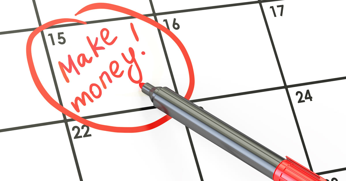 Make money handwriting on date on calendar