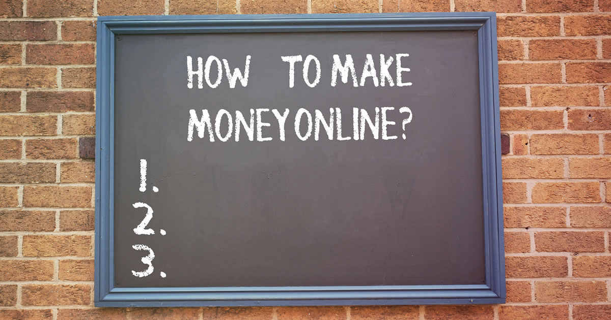 Writing on chalkboard with the question How to Make Money Online and three fill-in-the-blank spots