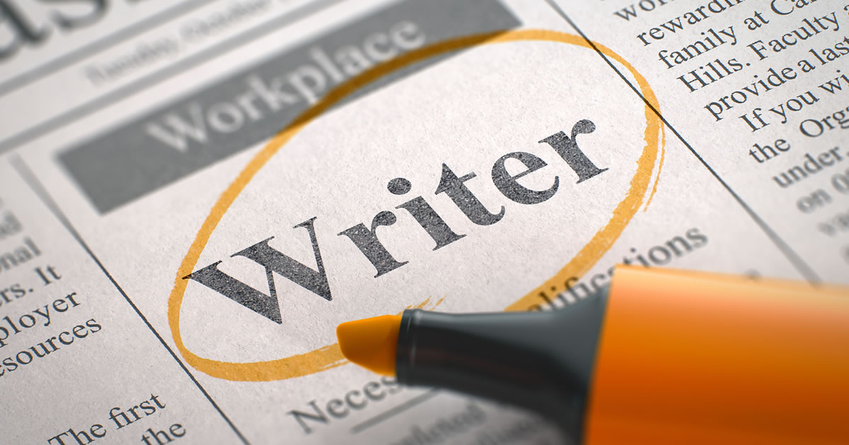 Writer wanted – Vacancy ad in Newspaper, Circled with an Orange Highlighter