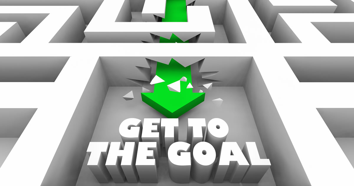 Get to the Goal Finish Line with Arrow breaking through barriers in a maze to reach the goal