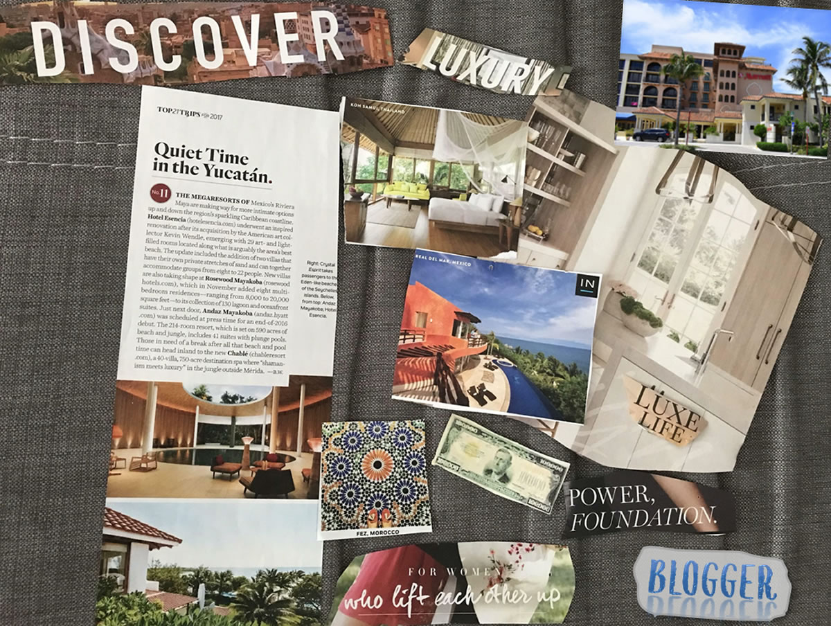 Vision Board with dream ocean view locations; money; words blogger, discover, power, foundation; luxury life