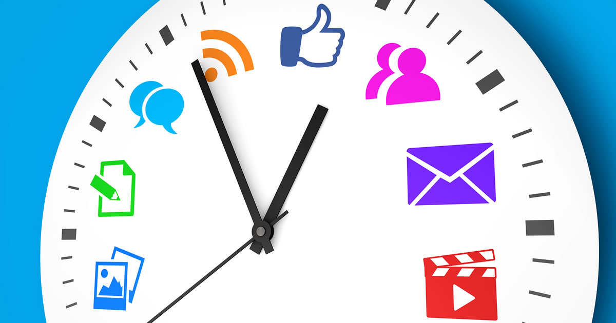 Social media time management and web strategy concept with a clock and social network icons printed in multiple colors