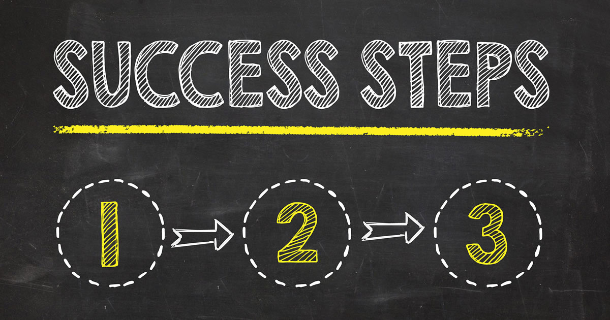 Success steps text on blackboard background