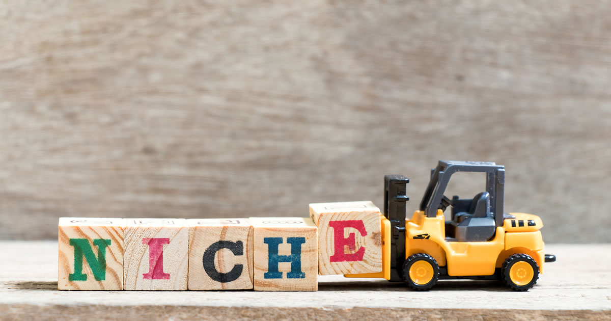 Toy forklift holding letter block E in word NICHE on wood background