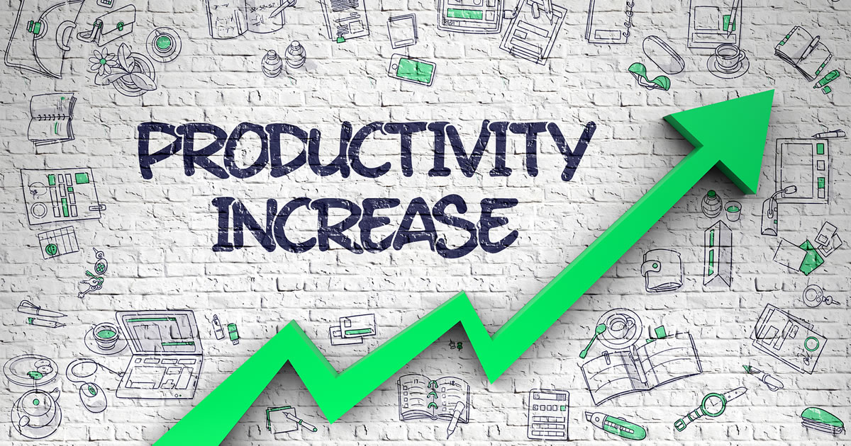 Productivity Increase – Improvement Concept with Hand Drawn Icons Around on the White Brick Wall Background