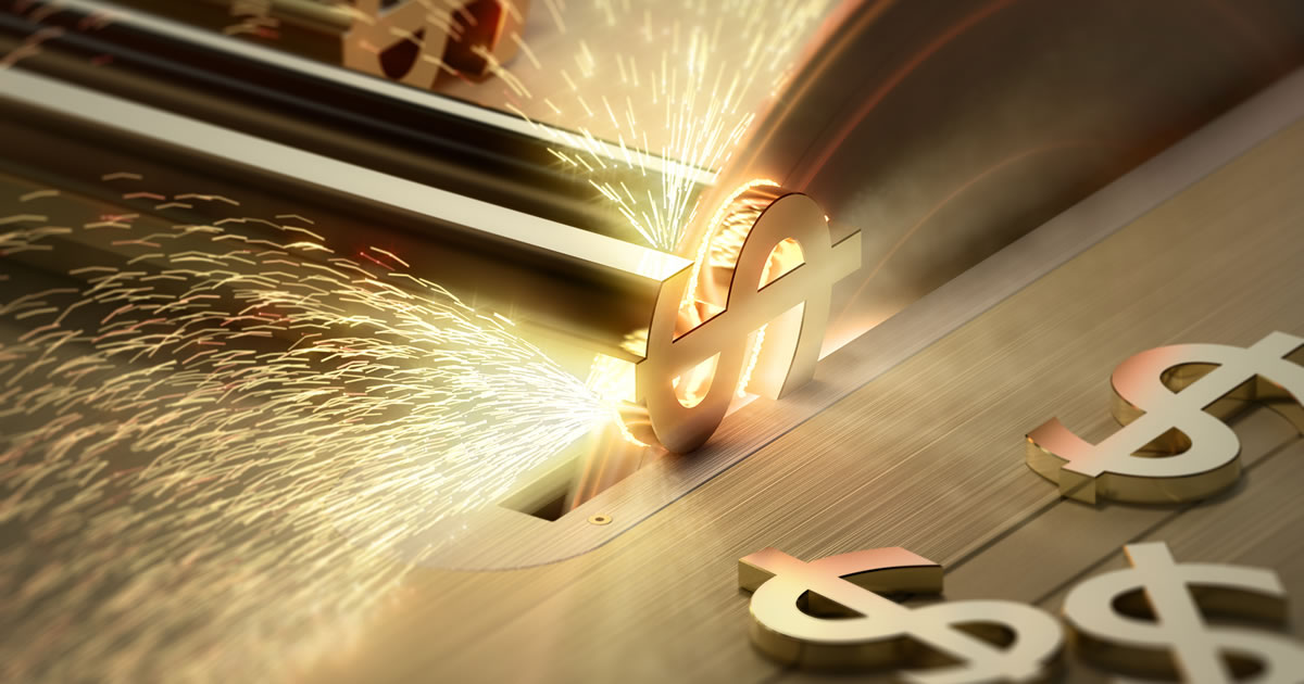Making Money — Table saw cutting gold dollar signs – with motion blur