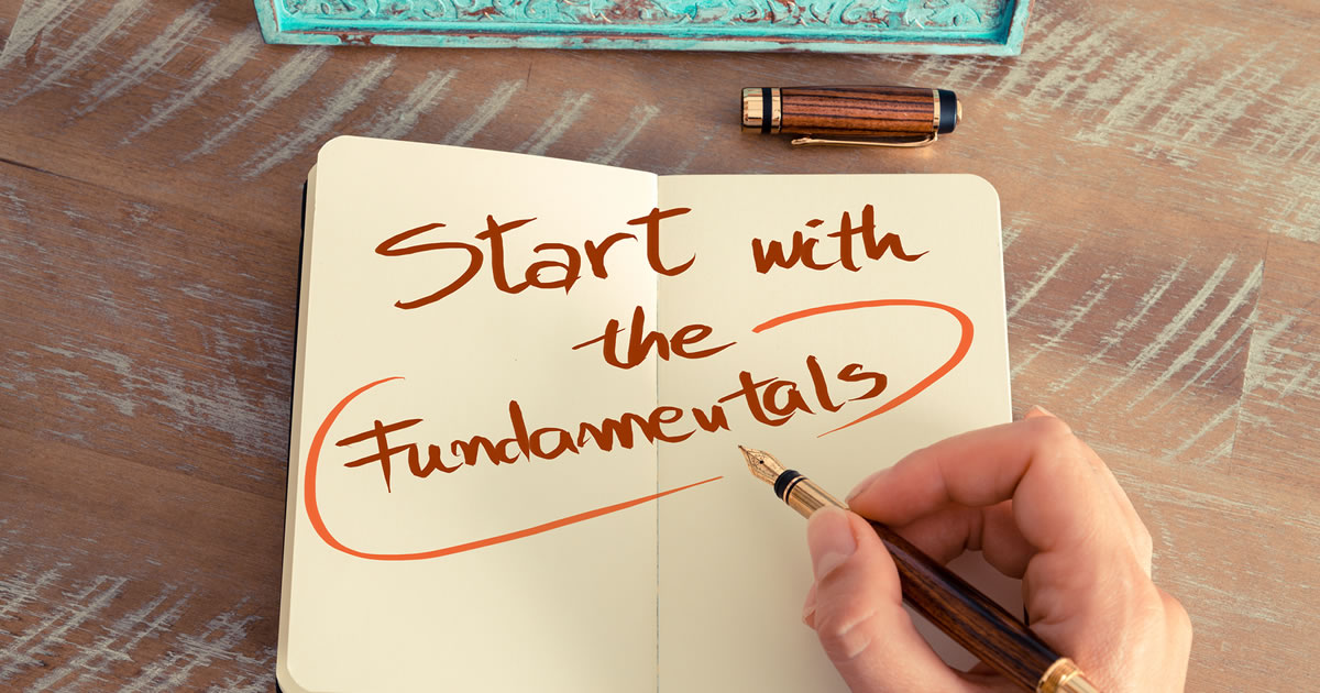 Image of someone writing START WITH THE FUNDAMENTALS with a fountain pen in a notebook