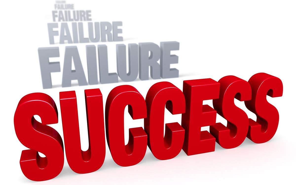 "Sharp focus on bold red word ""SUCCESS"" in front of a row of plain gray ""FAILURE"" words blurring and fading into the distance"