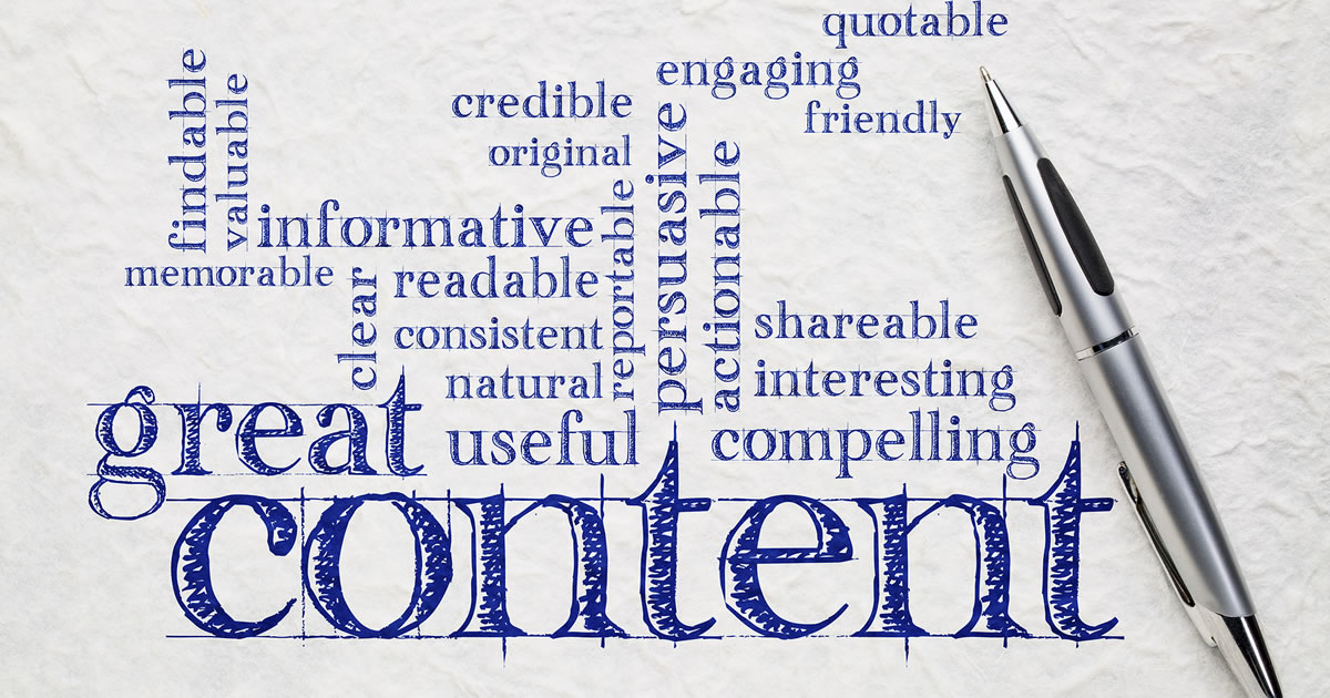 Great content writing word cloud on a white paper, including words like informative, compelling, persuasive
