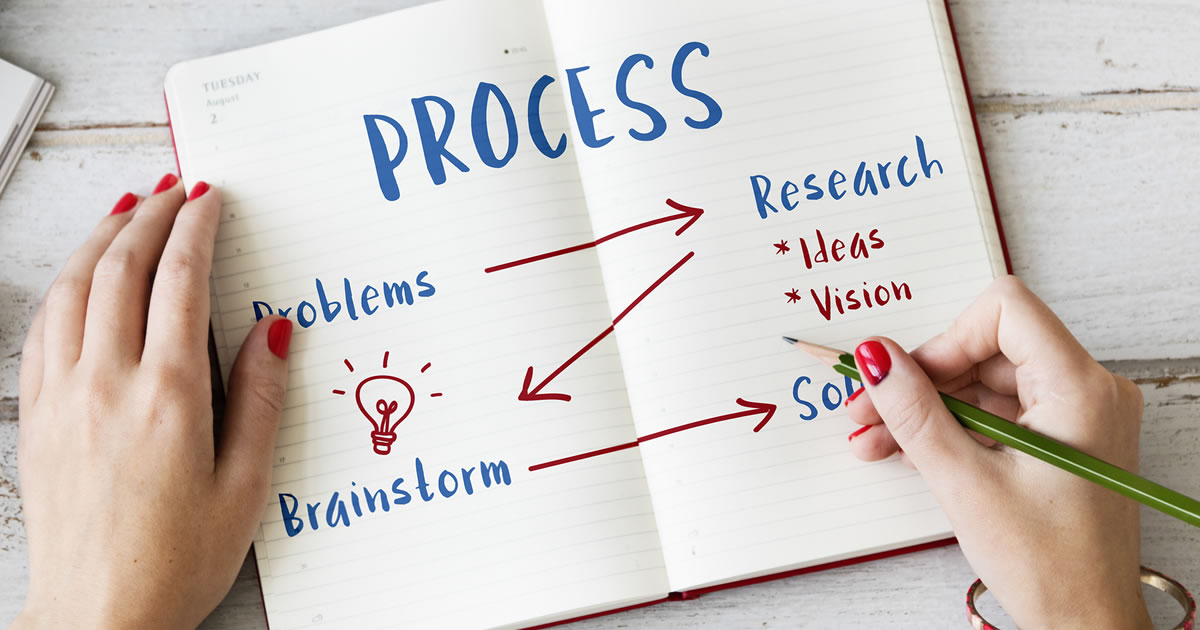 Creative Thinking Business Strategy; making notes about project process in journal