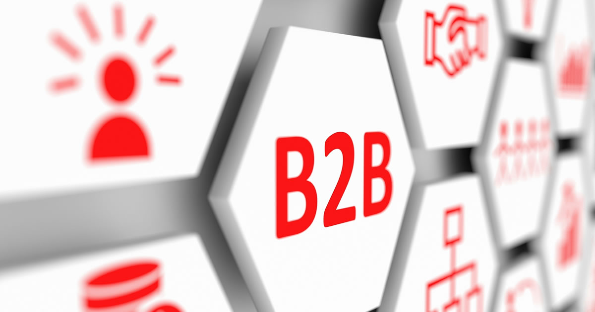 B2B (Business-to-Business) red icons on white octagonal shapes on modern background