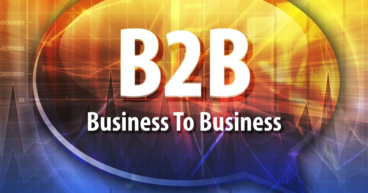 B2B Business-to-Business in a word speech bubble