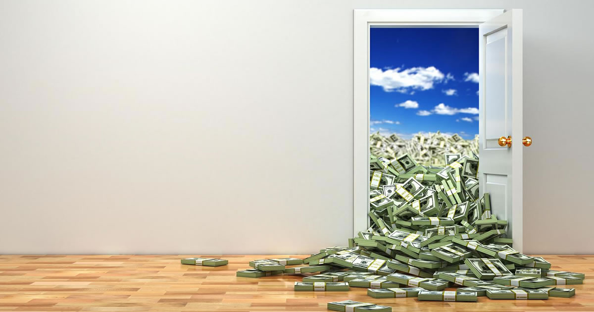 Door opening to blue sky with a huge pile of money falling through the opening