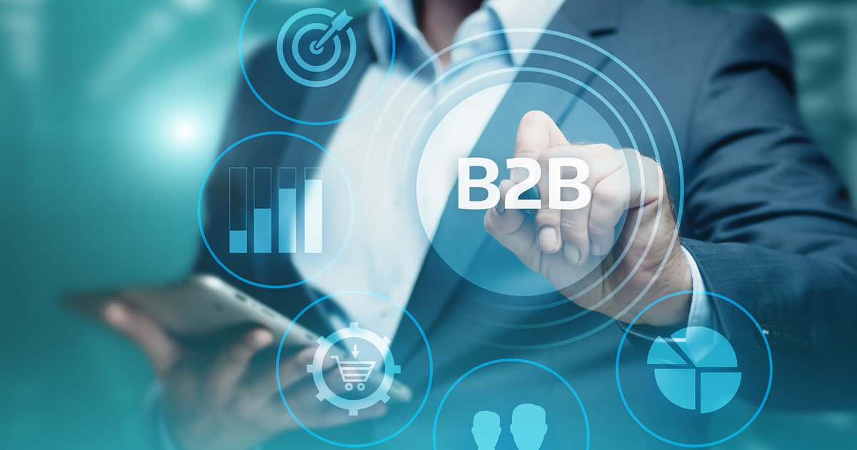 B2B Business-to-Business high-tech trend look with e-commerce, technology, marketing, communications icons